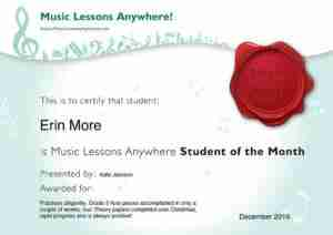 Skype online music lessons Erin, student of the month