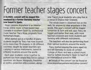 Music Lessons Anywhere online concert editorial Barnsley Chronicle newspaper