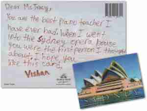 Music Lessons Anywhere online piano student Vishan postcard to Tracy Rose