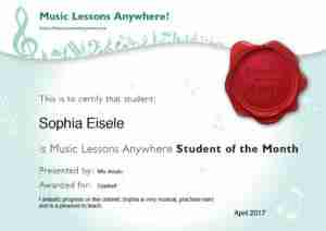 Skype clarinet student Sophia, Music Lessons Anywhere Student of the Month for April 2017