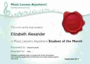 Online piano student of the month