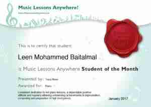 Skype online music lessons Leen, student of the month