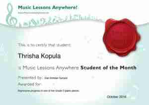 Thrisha - Online piano lessons student of the month