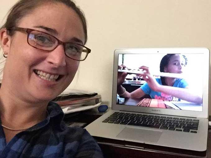 Kate teaching Skype flute lesson online