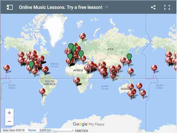 Skype music lessons students map Music Lessons Anywhere