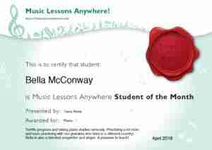 Bella McConway - Music Lessons Anywhere Online Music Lessons Student Of The Month - April 2018