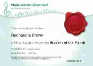Music Lessons Anywhere student of the month September-2018