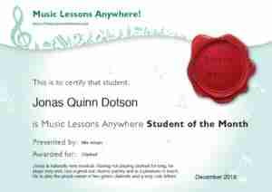 Jonas - Music Lessons Anywhere student of the month - December 2018