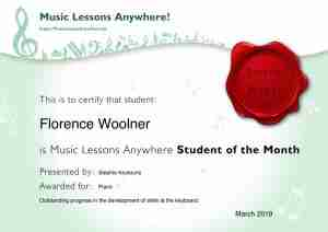 Music Student Of The Month Certificate - Florence - Music Lessons Anywhere