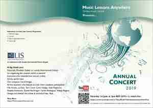 Music Lessons Anywhere international live online Annual Concert Programme 2019 front