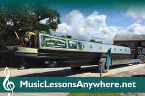 Music Lessons Anywhere narrowboat live online music lessons