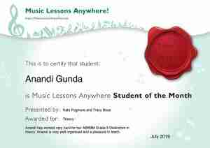 Anandi Gunda - Music Lessons Anywhere music student of the Month certificate - July 2019