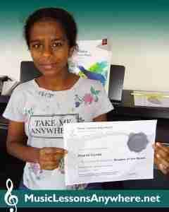 Anandi - Live online music student of the month certificate - Music Lessons Anywhere