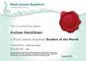 Andrew Hendriksen - Music Lessons Anywhere music student of the Month certificate - August 2019