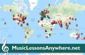Skype Music Lessons Online student location map - Music Lessons Anywhere