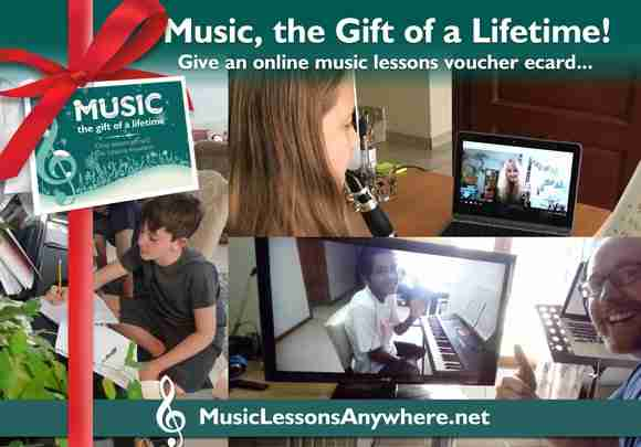 Live online music lessons gift ecards - Music Lessons Anywhere