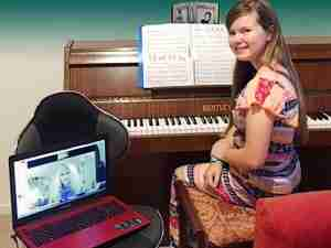 Pros and Cons of Skype Lessons - Francesca Skype piano student online