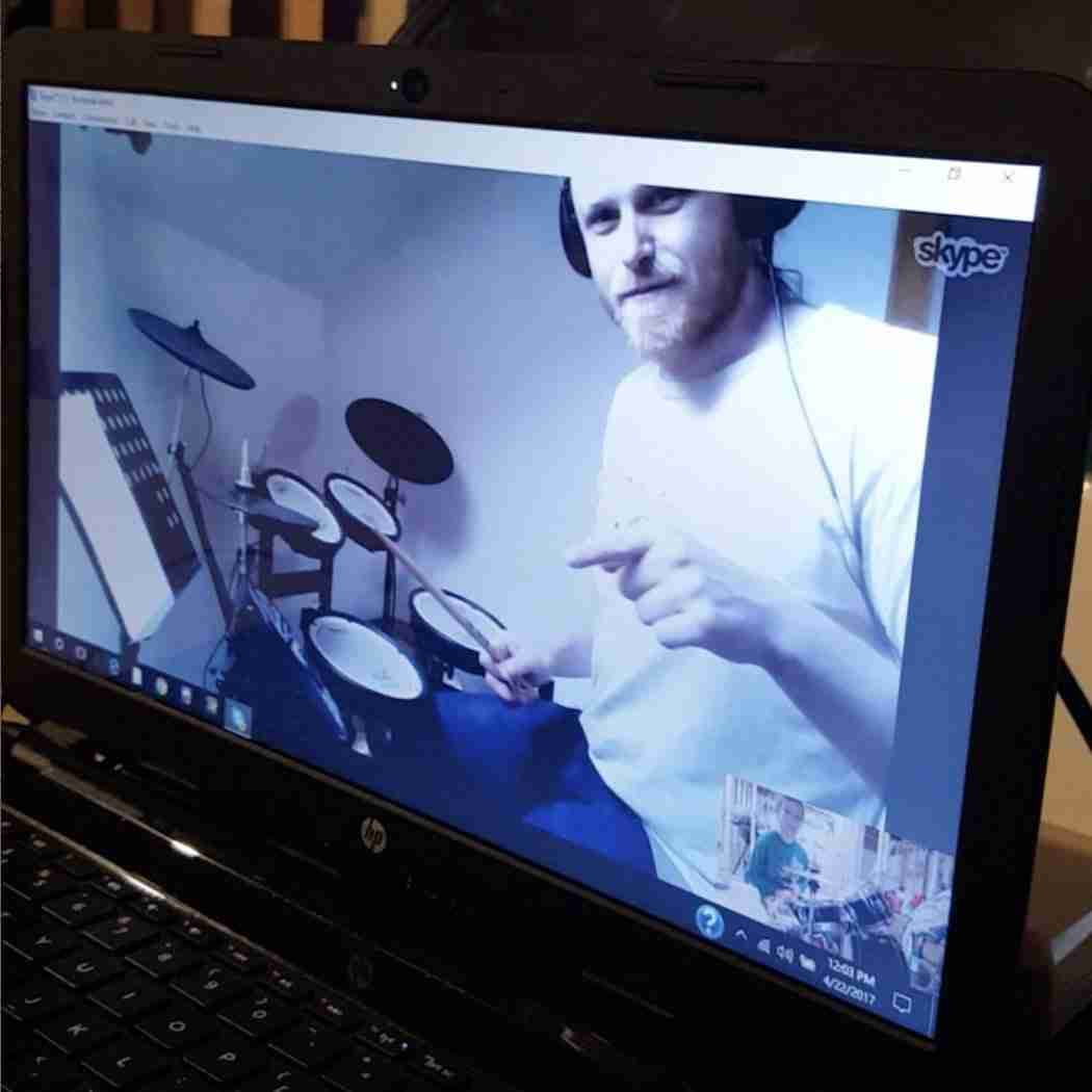 Skype drum lesson online screen shot