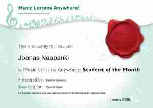 Joonas - Music student of the Month certificate - January 2020