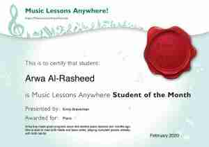 Arwa Al-Rasheed - Music Lessons Anywhere Student of the Month certificate - February 2020