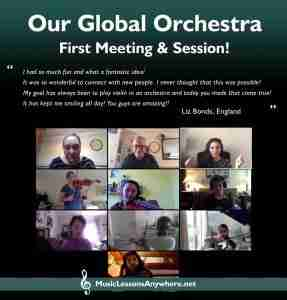 Review live online orchestra meeting - Music Lessons Anywhere