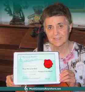Rosa - online music student of the month with certificate