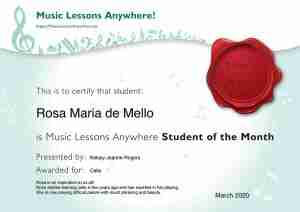 Student Of The Month Certificate for Music - March, Music Lessons Anywhere