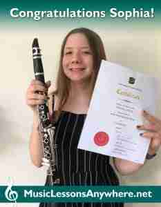 Distinction Con Brio clarinet exam - Sophia at Music Lessons Anywhere