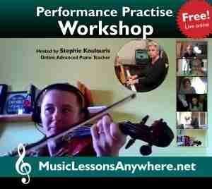 Live online Practise Performance Workshop online violin performance