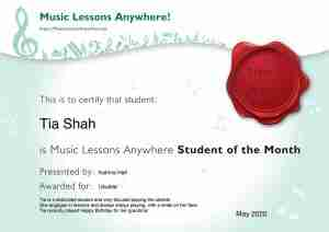Tia our Music Lessons Anywhere Music Student of the Month Certificate - May 2020