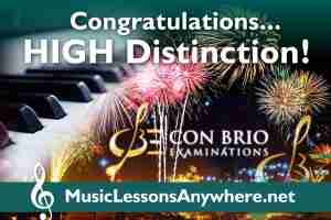 Congratulations piano exam high distinction