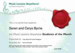 Seren and Cerys our Music Lessons Anywhere Music Students of the Month Certificate - June 2020