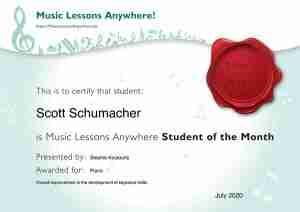Scott Schumacher - Music Lessons Anywhere music student of the Month certificate - July 2020