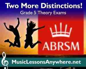 Congratulations ABRSM Grade 5 Theory Exam Distinction - Music Lessons Anywhere