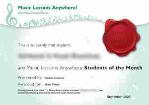 Music Lessons Anywhere music student of the Month certificate - September 2020