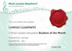 Lorenzo Lucamarini - Music Lessons Anywhere music student of the Month certificate - October 2020