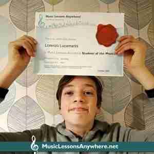 Music Student Of The Month award - Lorenzo