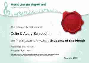 Music Lessons Anywhere music student of the Month certificate - November 2020