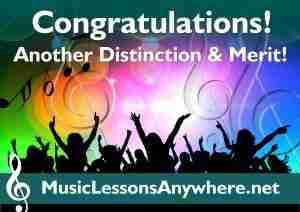 Congratulations live online music lessons exam distinction and merit