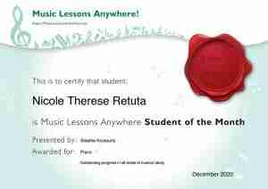 Nicole Therese Retuta - Music Lessons Anywhere music student of the Month certificate - December 2020