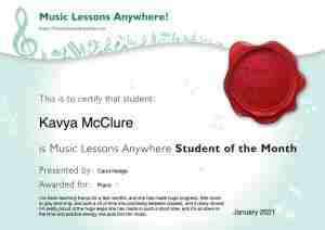 Student of the Month certificate -January 2021