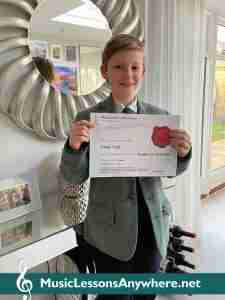 Music Student of the Month with certificate - Finn at Music Lessons Anywhere