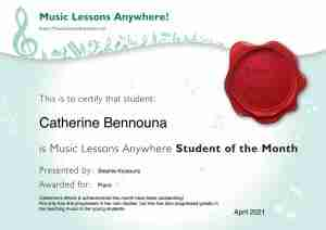 Catherine - Student of the Month certificate