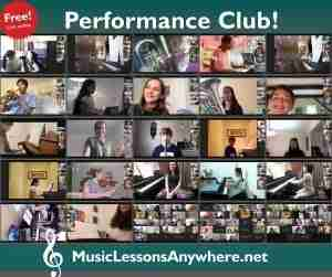 Live online Performance Club at Music Lessons Anywhere